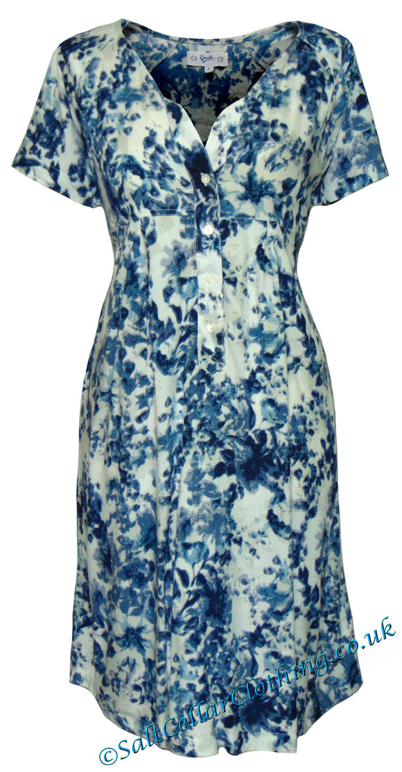 Goubi Womens 'B29' Short Sleeved Dress - Blue / White