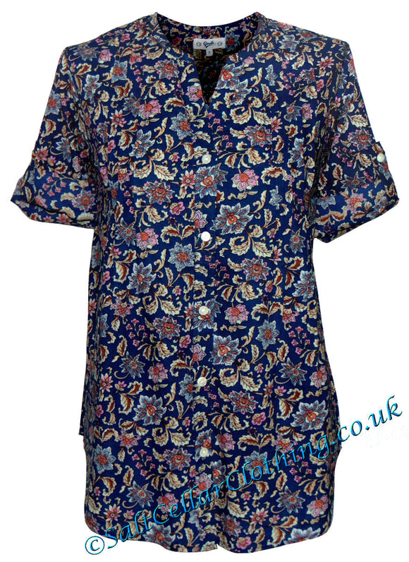 Goubi Womens 'V97' Short Sleeved Blouse - Navy / Floral