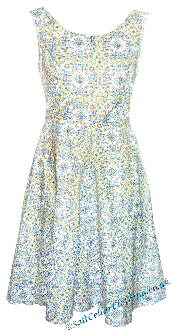 Goubi Womens 'V88' A-Line Mandala Print Dress - White / Blue / Yellow