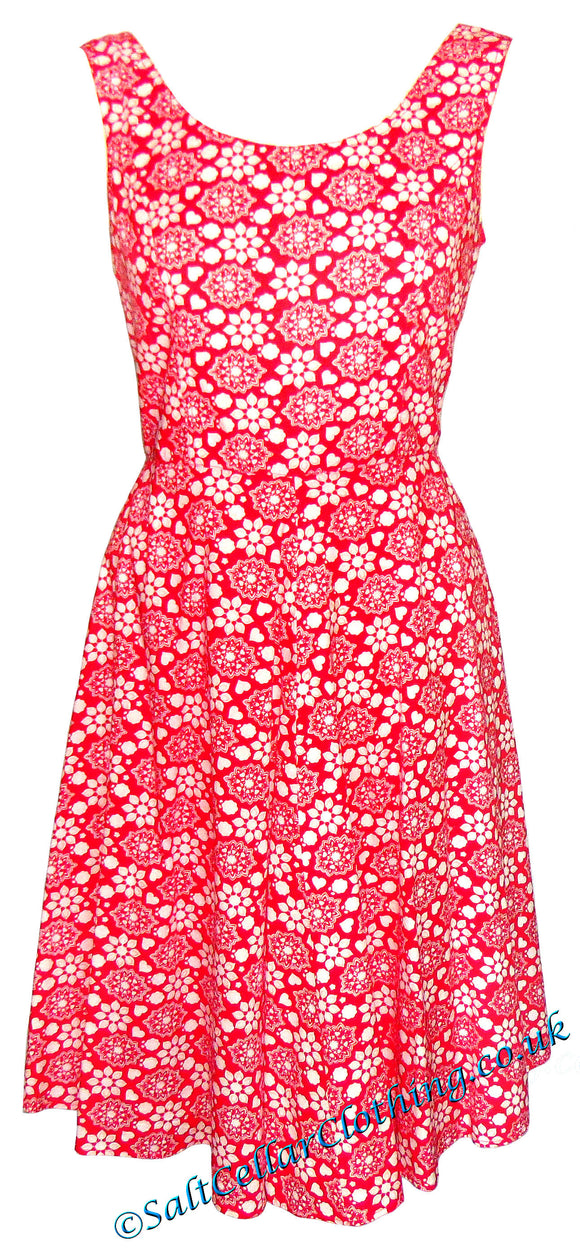 Goubi Womens 'V88' A-Line Floral Print Dress - Red / White