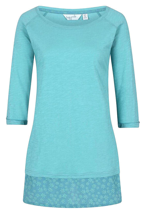 Lazy Jacks Womens 'LJ176' Floral Trim Top - Niagra Blue / Turquoise