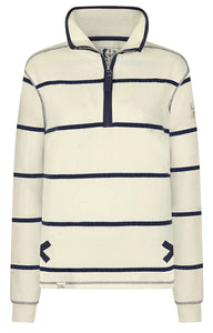 Lazy Jacks Womens 'LJ35' Zip Neck Sweatshirt - White / Navy Stripe
