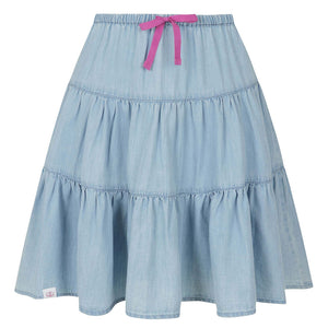 Lazy Jacks Kids 'LJ90DC' Tiered Skirt - Denim Blue