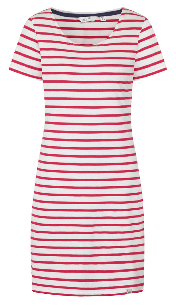 Lazy Jacks Womens 'LJ115' Short Sleeved Stripe Dress - Cerise