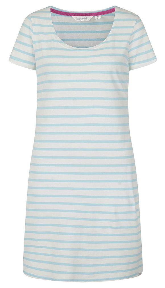 Lazy Jacks Womens 'LJ115' Short Sleeved Stripe Dress - Clear Water