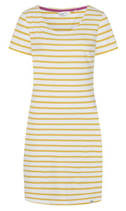 Lazy Jacks Womens 'LJ115' Short Sleeved Stripe Dress - Gorse Yellow