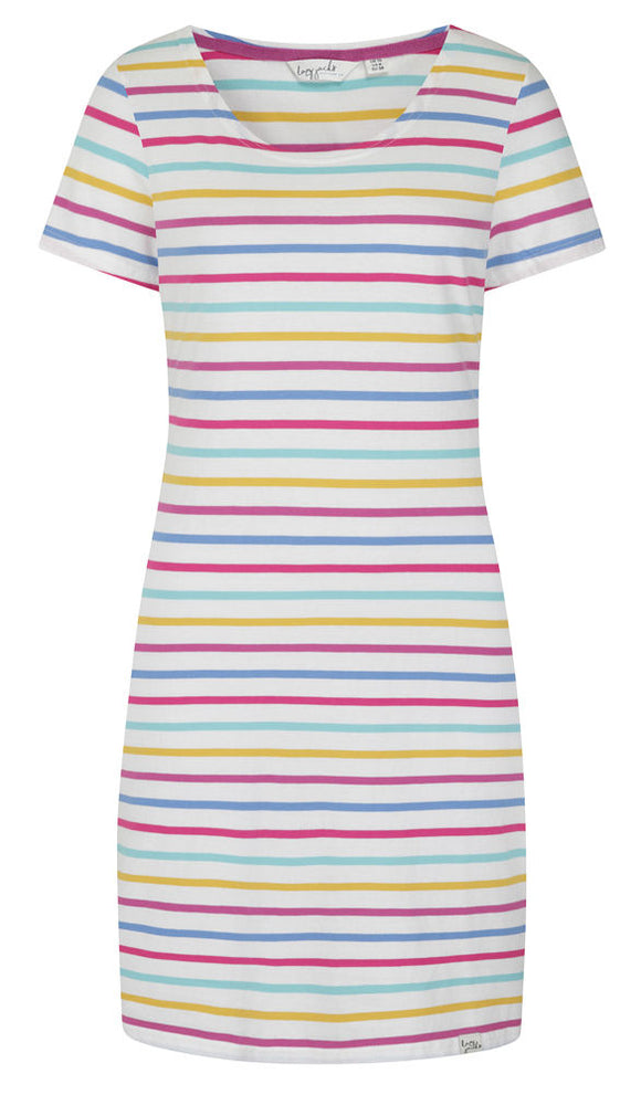 Lazy Jacks Womens 'LJ115' Short Sleeved Stripe Dress - Periwinkle Multi