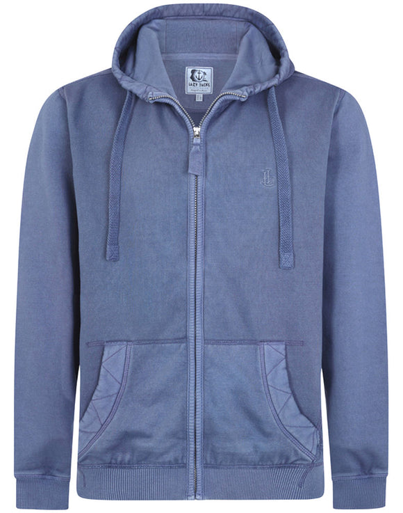 Lazy Jacks Mens 'LJ26' Zip Up Hoody - Washed Blue