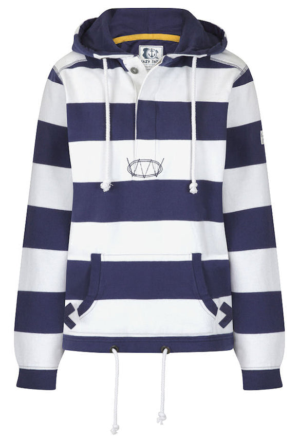 Lazy Jacks Womens Stripy Hooded Sweatshirt / Hoody - Twilight Navy / White