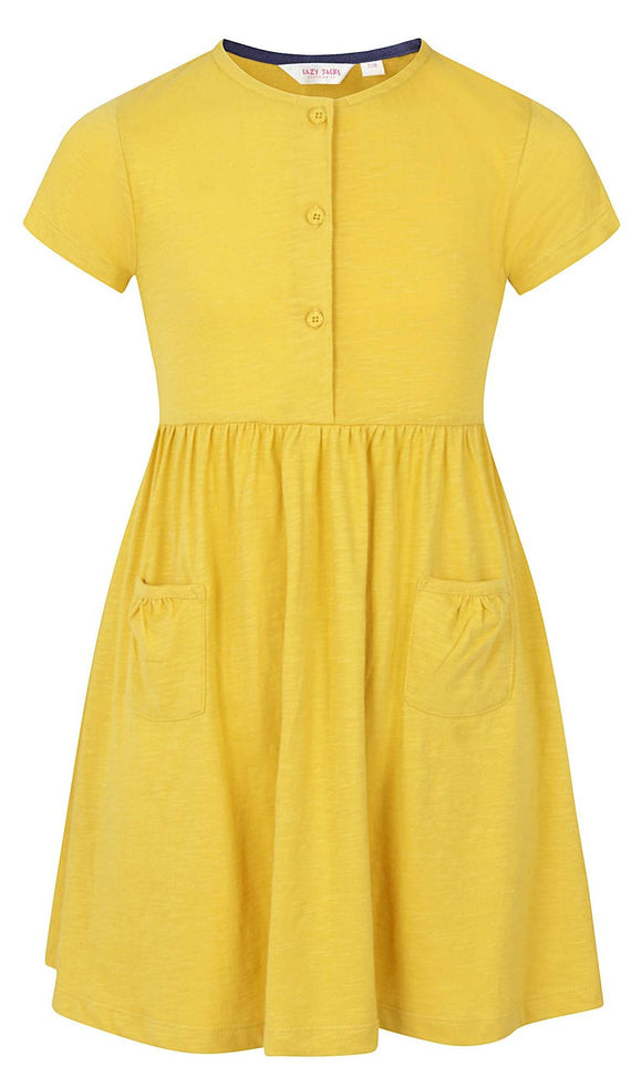 Lazy Jacks Kids 'LJ374C' Short Sleeved Dress - Gorse Yellow
