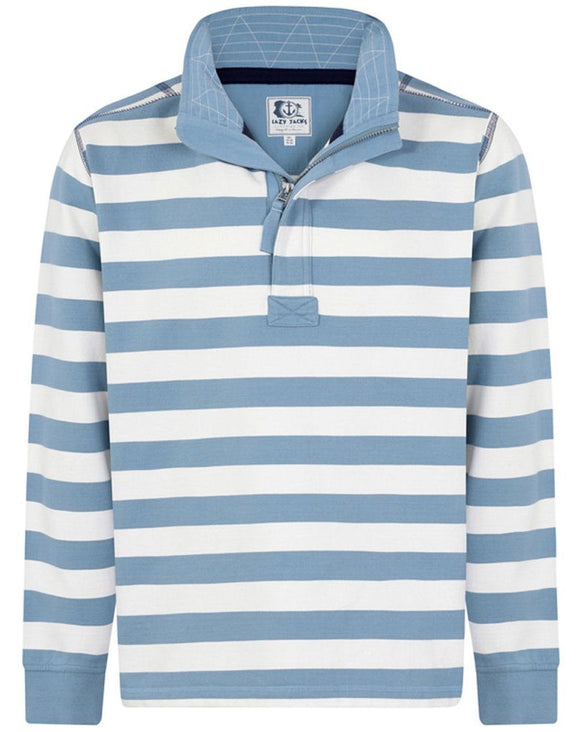 Lazy Jacks Mens 'LJ39S' Zip Neck Stripe Sweatshirt - Slate Blue