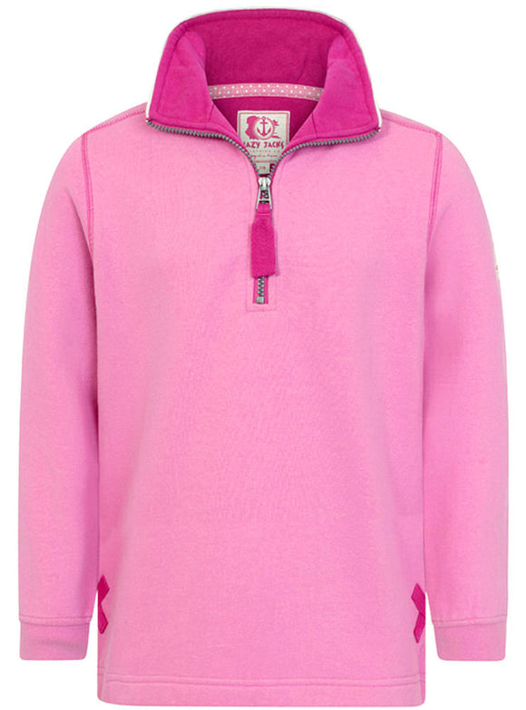Lazy Jacks Kids 'LJ3C' 1/4 Zip Sweatshirt - Phlox Pink