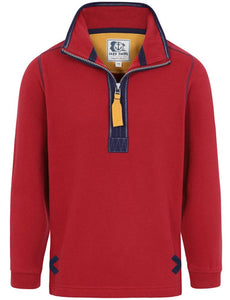 Lazy Jacks Kids 'LJ3C' 1/4 Zip Sweatshirt - Brick Red