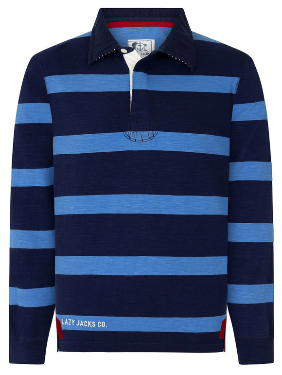 Lazy Jacks Mens 'LJ78E' Stripe Rugby Shirt - Deep Sea Blue / Navy