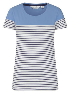 Lazy Jacks Womens 'LJ8' Short Sleeve Stripe Tee - Periwinkle Blue