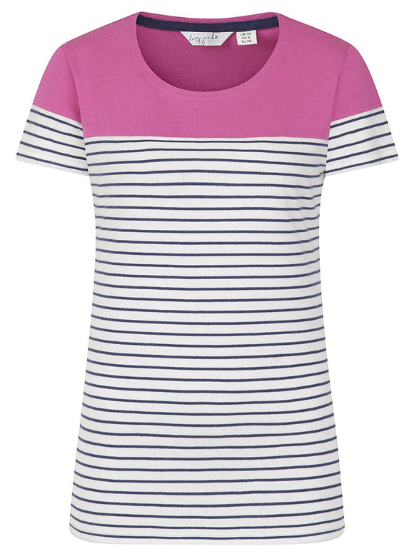 Lazy Jacks Womens 'LJ8' Short Sleeve Stripe Tee - Raspberry Pink