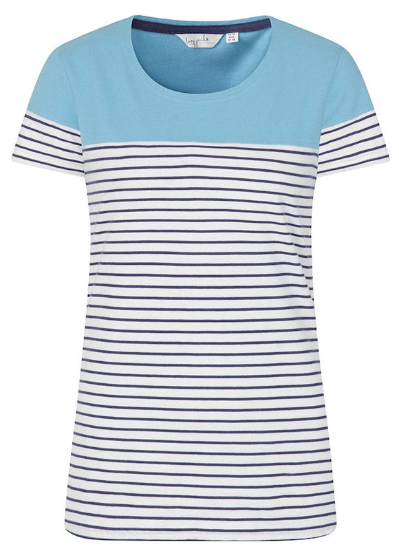 Lazy Jacks Womens 'LJ8' Short Sleeve Stripe Tee - Reef Blue