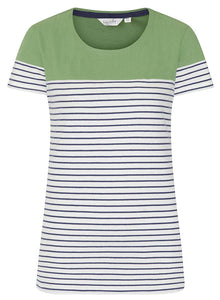 Lazy Jacks Womens 'LJ8' Short Sleeve Stripe Tee - Spring Green