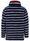 Lazy Jacks Kids 'LJ85C' Striped Fluffy Fleece - Marine Navy / White