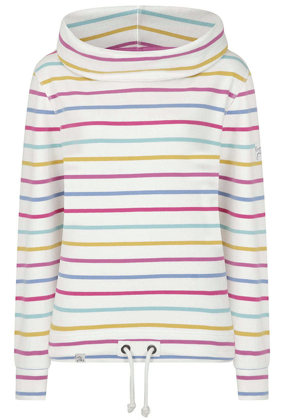 Lazy Jacks Womens 'LJ31' Cowl Neck Stripe Sweatshirt - Periwinkle Multi