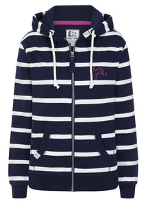 Lazy Jacks Womens 'LJ101S' Stripe Hoody - Marine Navy