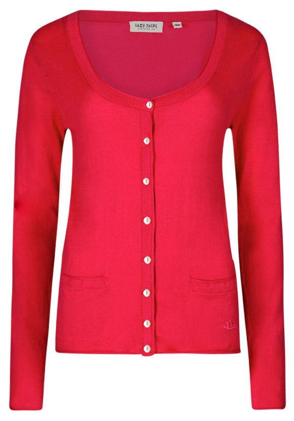 Lazy Jacks Womens 'LJ125' Fine Knit Cotton Cardigan - Lipstick Pink