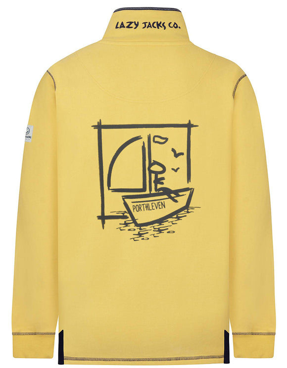 Lazy Jacks Mens 'LJ40P' Porthleven Print Sweatshirt - Maize Yellow