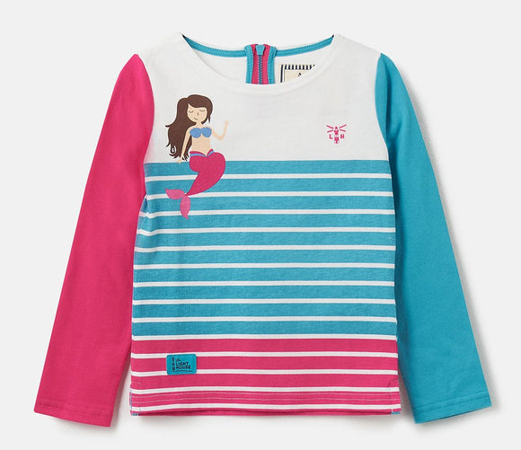 Lighthouse Kids Causeway long sleeve tee - Stripe / Mermaid Print