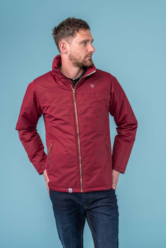 Lighthouse Mens 'Harbour' Rain Jacket - Bordeaux Red