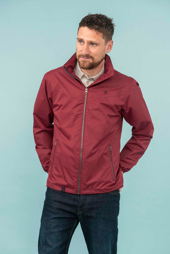 Lighthouse Mens 'Portland' Waterproof Rain Jacket - Bordeaux Red