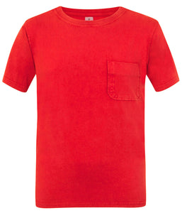 Mousqueton Mens 'Solal' Washed Look Cotton T-Shirt - Chilli Red