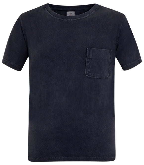 Mousqueton Mens 'Solal' Washed Look Cotton T-Shirt - Marine Navy