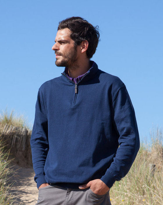 Mousqueton Mens 'Pol' Fine Knit Zip Neck Jumper - Marine Navy