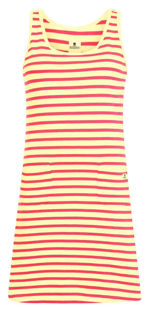Mousqueton Womens 'Tela' Stripy Dress - Ecru / Blush Pink