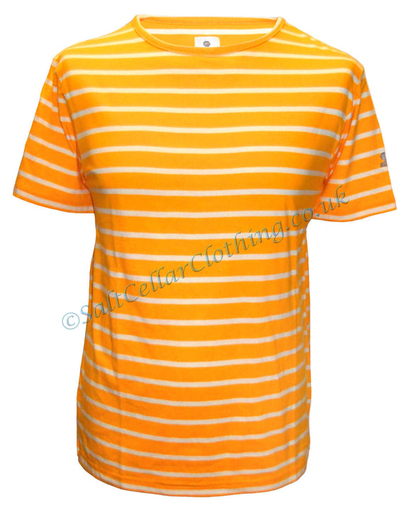 Mousqueton Unisex 'Matel' Stripy Cotton T-Shirt - Mango / Ecru