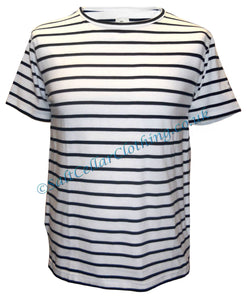 Mousqueton Unisex 'Matel' Stripy Cotton T-Shirt - White / Navy