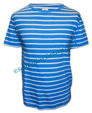 Mousqueton Unisex 'Matel' Stripy Cotton T-Shirt - Myosotis Blue / White