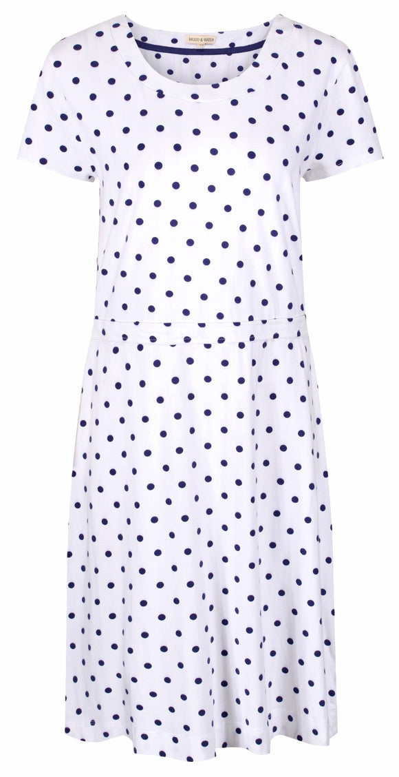 Mudd & Water Womens 'Hourglass' Dress - White / Navy Polka Dot