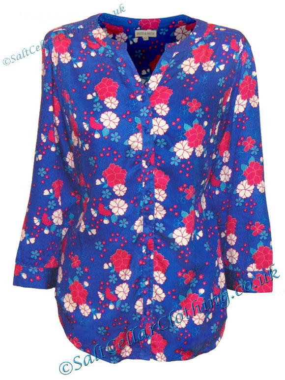 Mudd & Water Womens 'Whitstable Shirt' - Floral Print Cobalt