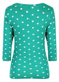 Mudd & Water Womens 'Skies the Limit' 3/4 Sleeve Top - Lagoon Polka Dot