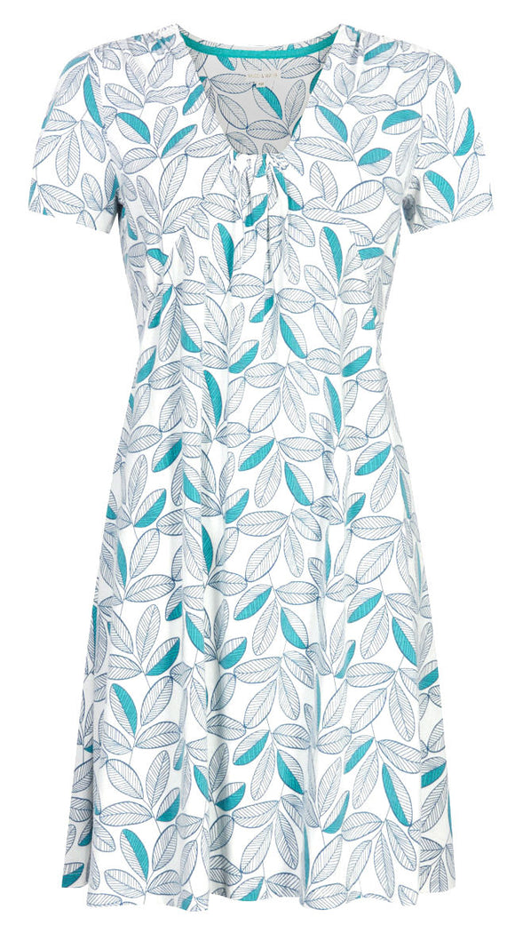 Mudd & Water Womens 'Ciara' Short Sleeved Dress - White / Leaf Pattern