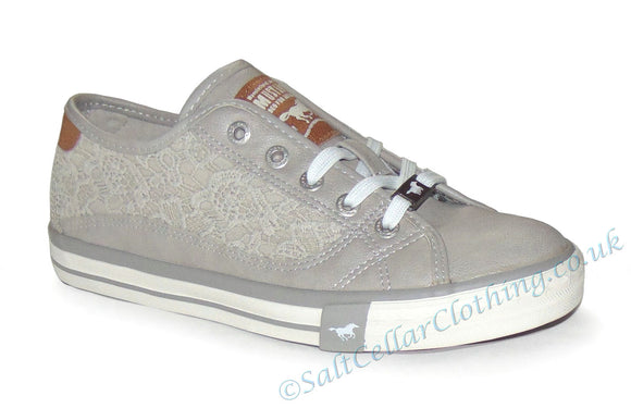 Mustang Womens Lace Pattern Shoes - Light Grey