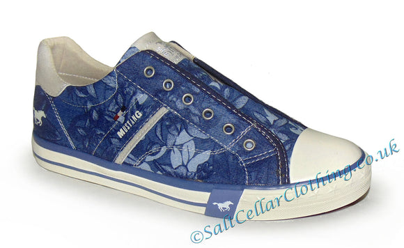 Mustang Womens Slip On Shoes - Blue / Floral Pattern
