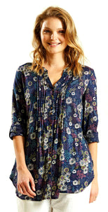 Nomads Womens Floral Tunic Shirt - Navy