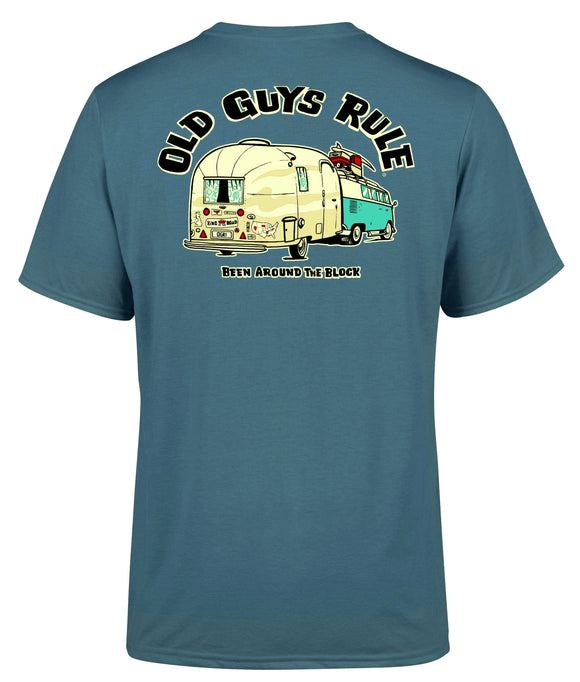 Old Guys Rule Mens 'Been Around the Block' Printed T-Shirt - Indigo Blue