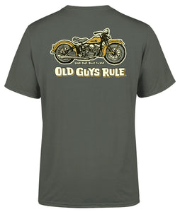 Old Guys Rule Mens 'Panhead' Printed T-Shirt - Charcoal