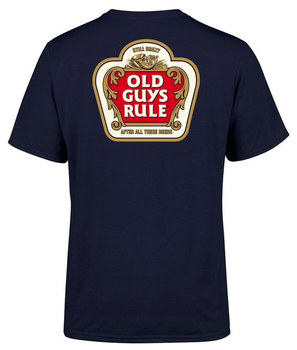 Old Guys Rule Mens 'Stella Crazy' Printed T-Shirt - Navy