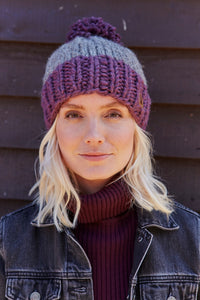 Pachamama Adults 'Kinsale' Knitted Bobble Beanie - Cassis Purple