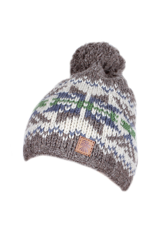 Pachamama Adults 'Whistler' Knitted Bobble Beanie - Grey