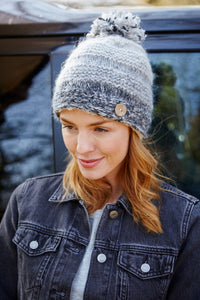 Pachamama Adults 'Sierra Nevada' Fluffy Lined Knitted Bobble Beanie - Smoke Grey